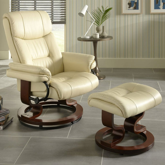 Canberra Cream Faux Soft Leather Recliner Chair And Footstool