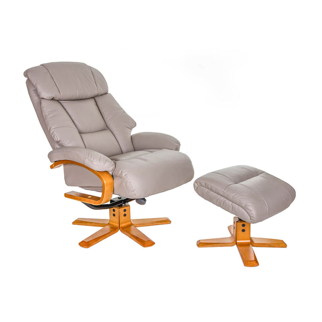 Nice Swivel Recliner Chair and Footstool In Real Cowhide Or Fabric Options
