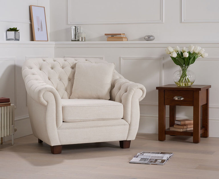Liv Chesterfield Ivory Fabric Armchair
