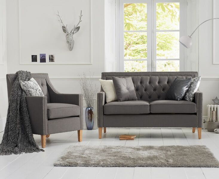 Casa Bella Grey Fabric 2 Seater Sofa