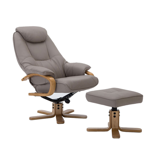 Pisa Swivel Recliner Chair and Footstool In Various Fabric Options