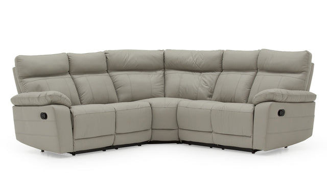 Juliet Reclining And Fixed Leather Corner Sofa Available In Grey, Brown And Black Colours