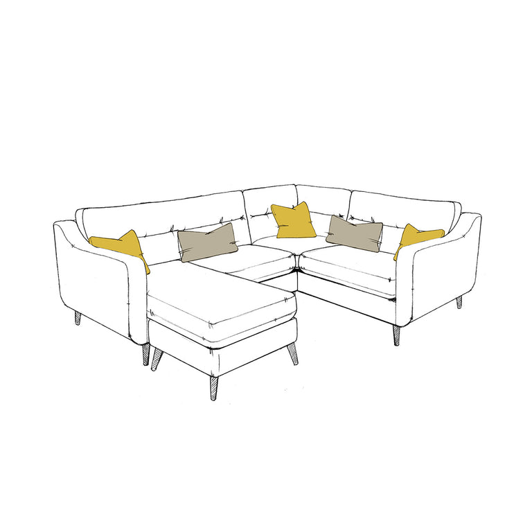 Camden Right Hand - Compact Corner Group (Available Left Hand) + Small Footstool