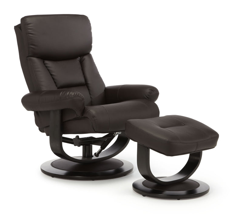 Dublin Brown Leather Recliner Chair And Footstool