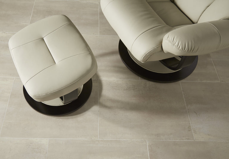 Dublin Taupe Leather Recliner Chair And Footstool