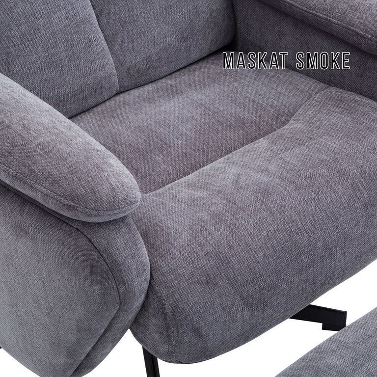 Santorini Swivel Recliner Chair and Footstool In Various Fabric Options