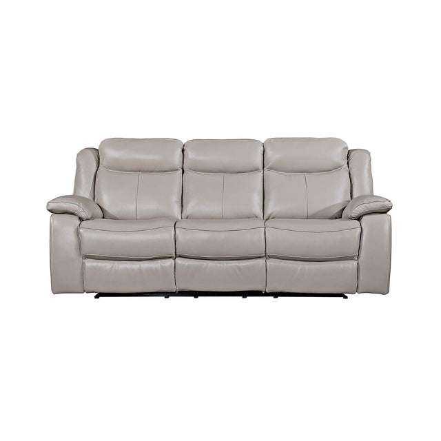 Juliet Three Seater Reclining Real Leather Sofa In Grey, Brown And Black Colours
