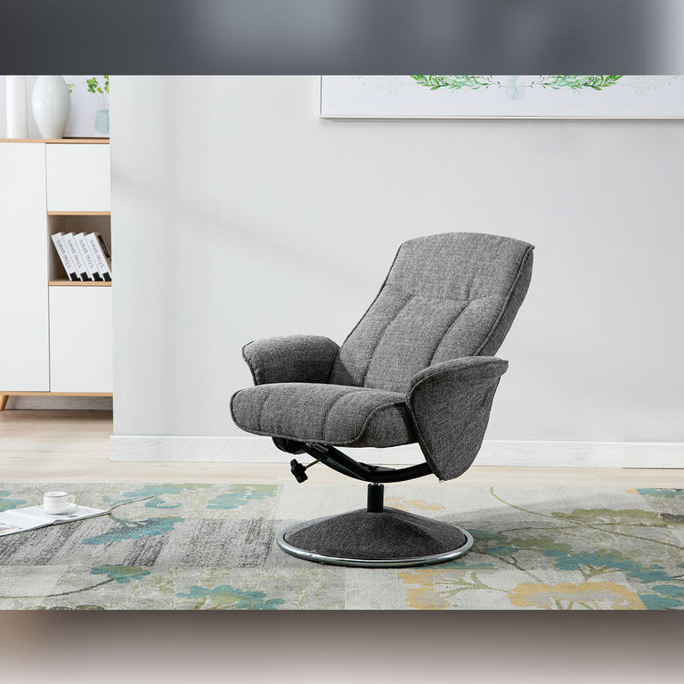 Verona Swivel Fabric Recliner Chair and Footstool