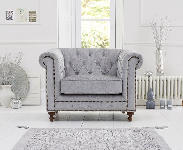 Montrose Grey Fabric Armchair