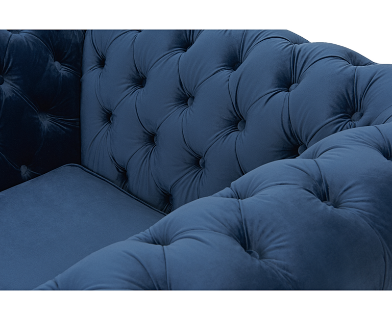 Carrara Chesterfield Blue Velvet 3 Seater Sofa