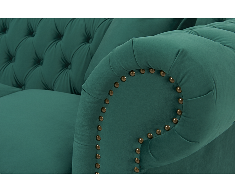 Carrara Chesterfield Green Velvet 3 Seater Sofa