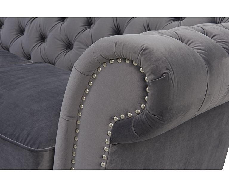 Carrara Chesterfield Grey Velvet 3 Seater Sofa