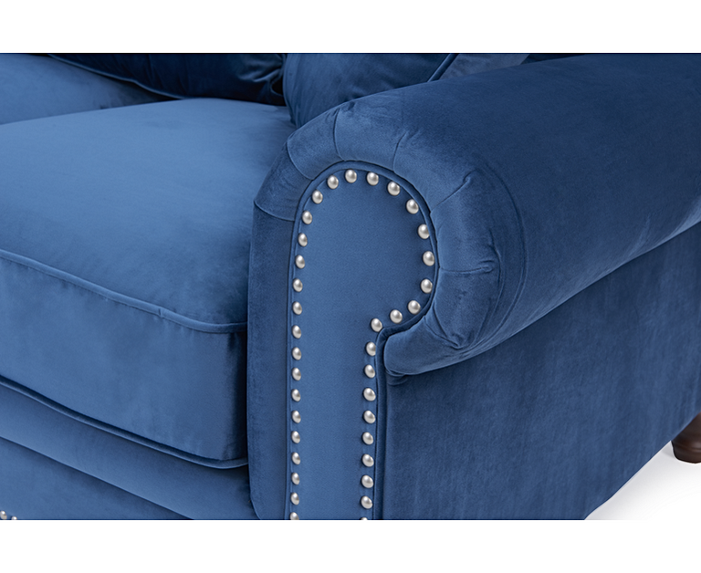 Eliza Blue Velvet 3 Seater Sofa