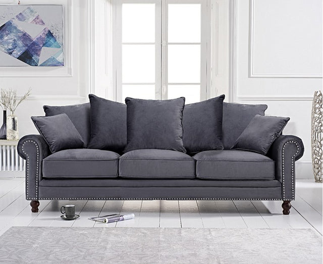 Eliza Grey Velvet 3 Seater Sofa