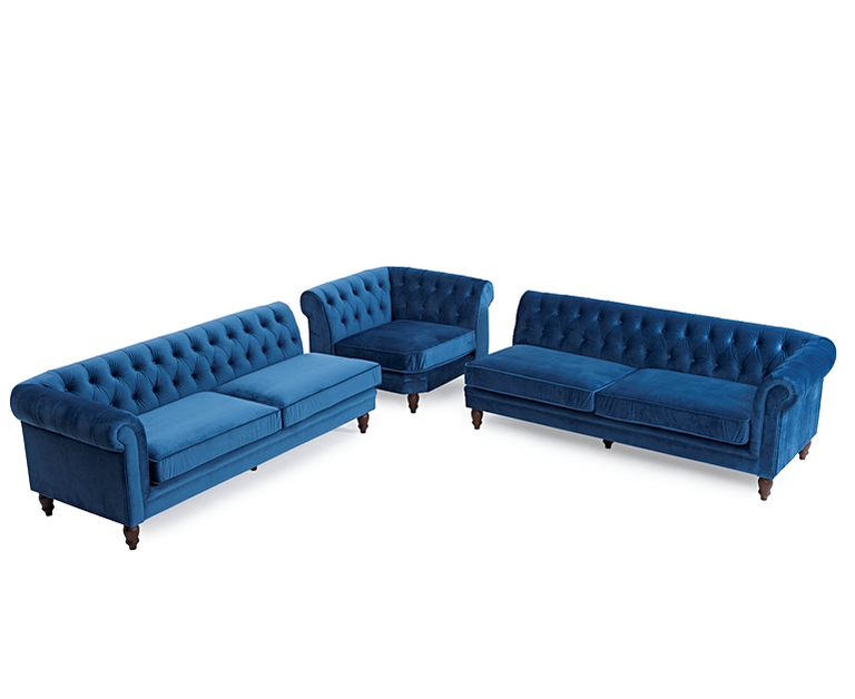 Flora Blue Velvet Right Or Left Facing Chesterfield Chaise Sofa