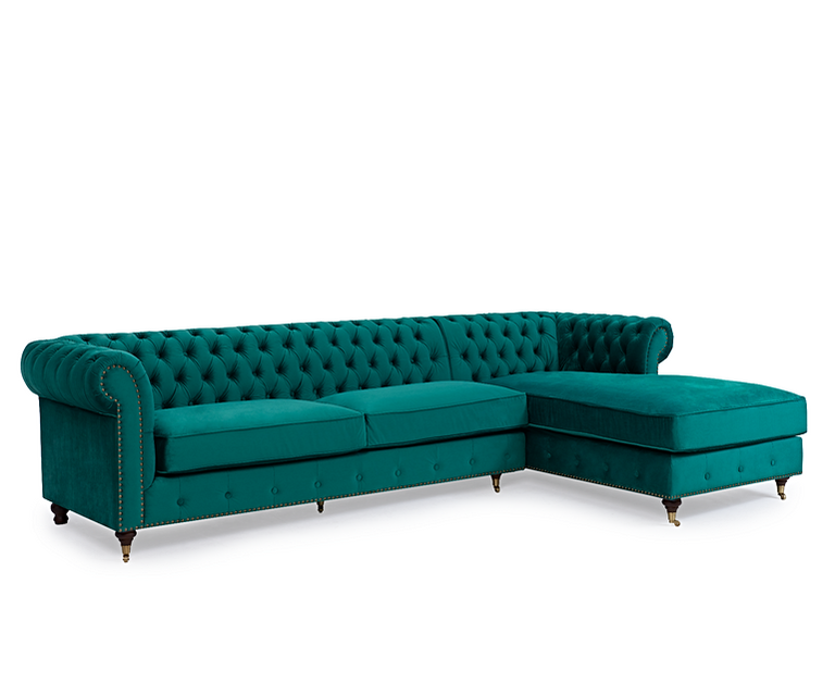 Flora Green Velvet Right Or Left Facing Chesterfield Chaise Sofa