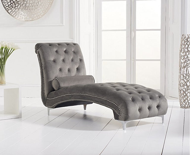 New York Grey Velvet Chaise Longues