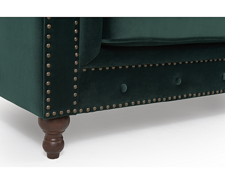 Milano Chesterfield Green Plush Armchair