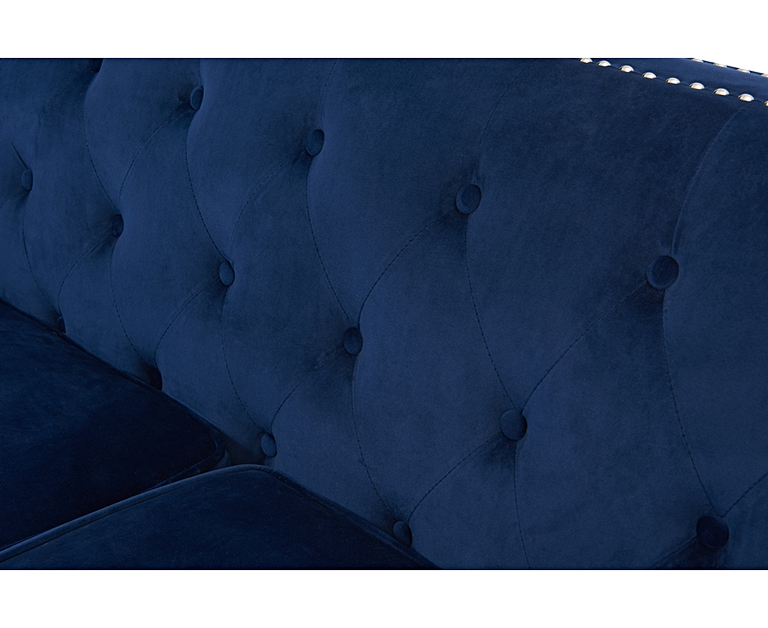 New York Blue Velvet 3 Seater Sofa