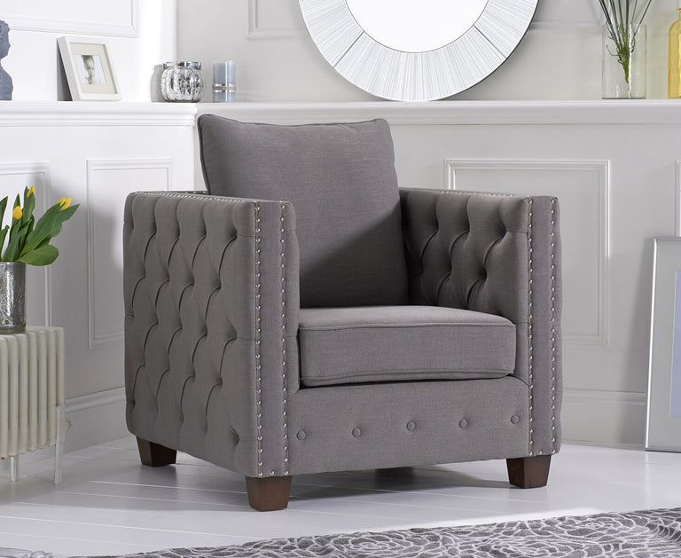 Ali Grey Linen Fabric Armchair