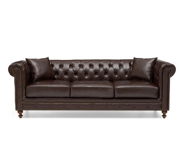 Montrose Brown Leather 3 Seater Sofa