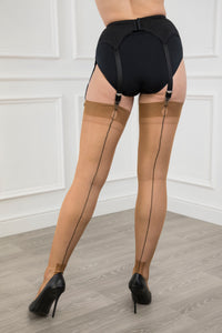 Contrast Seam Havana Heel Stockings
