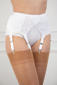 Six Strap Crossover Lace Suspender Belt