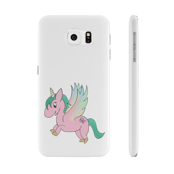 Pink Flying Unicorn Slim Phone Cases