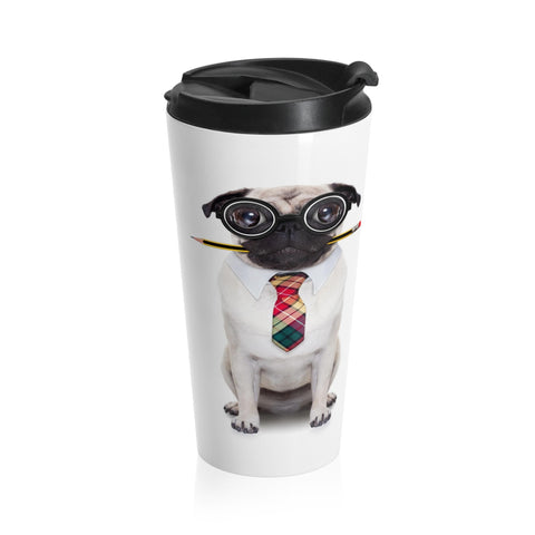 Pug Accountant Travel Mug