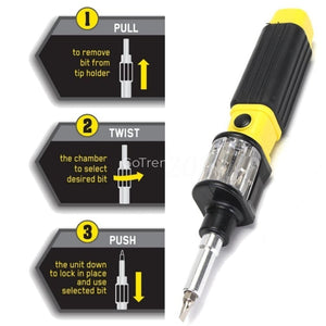 6 In 1 Multi-Function Screwdriver With Automatic 360 Rotating Bits Chamber