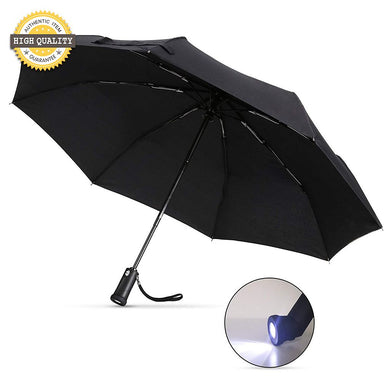 Compact Travel Umbrella with Flashlight