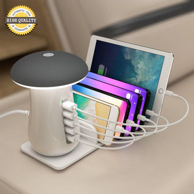 Multi-Port Cellphone And Tablet Fast Charging Dock & Lamp