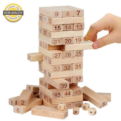 Wooden Plain Jenga 54pcs Blocks
