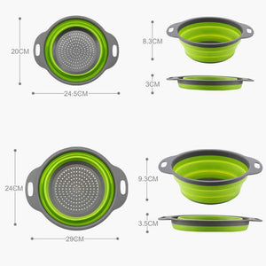 2Pcs Set Silicone Folding Filter Strainer