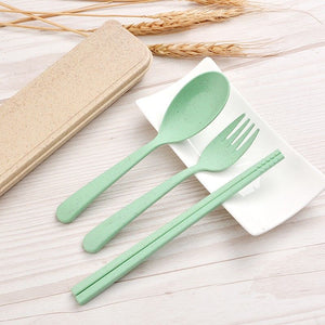 Wheat Straw Portable Spoon Fork Chopstick with Box