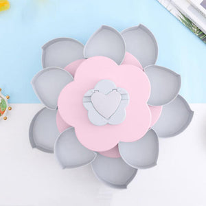 Double-Deck Rotary Flower Design Storage Box