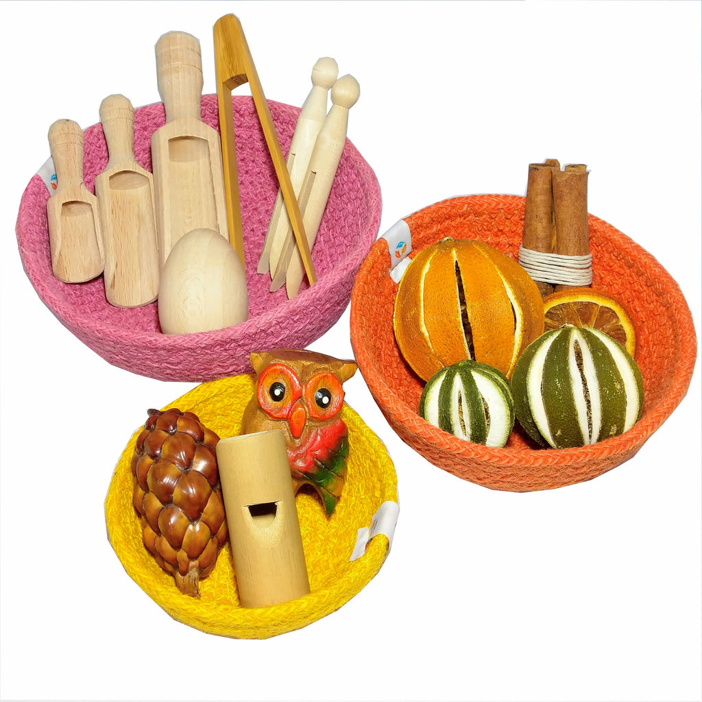 Trio of mini sensory baskets - Earth