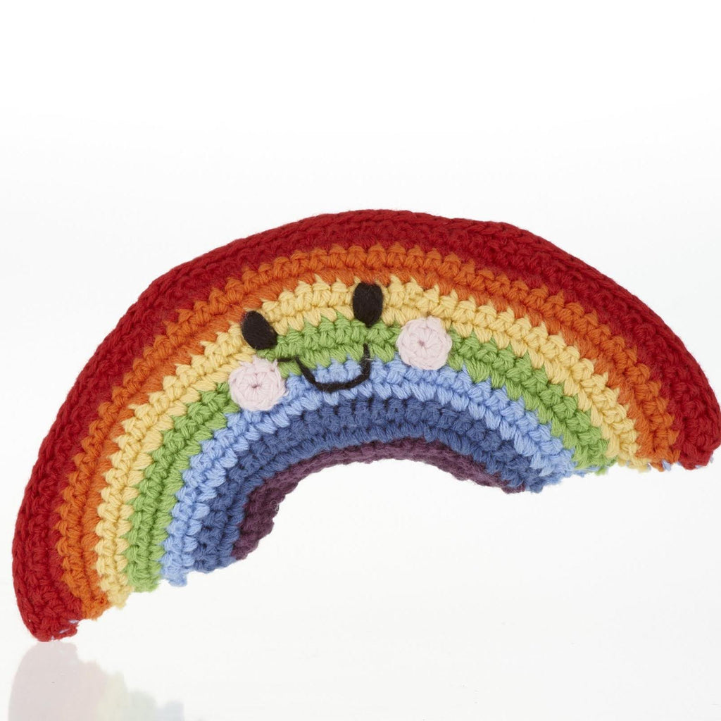 Pebble Friendly Rainbow Baby Rattle - Fair Trade Crotchet Cotton
