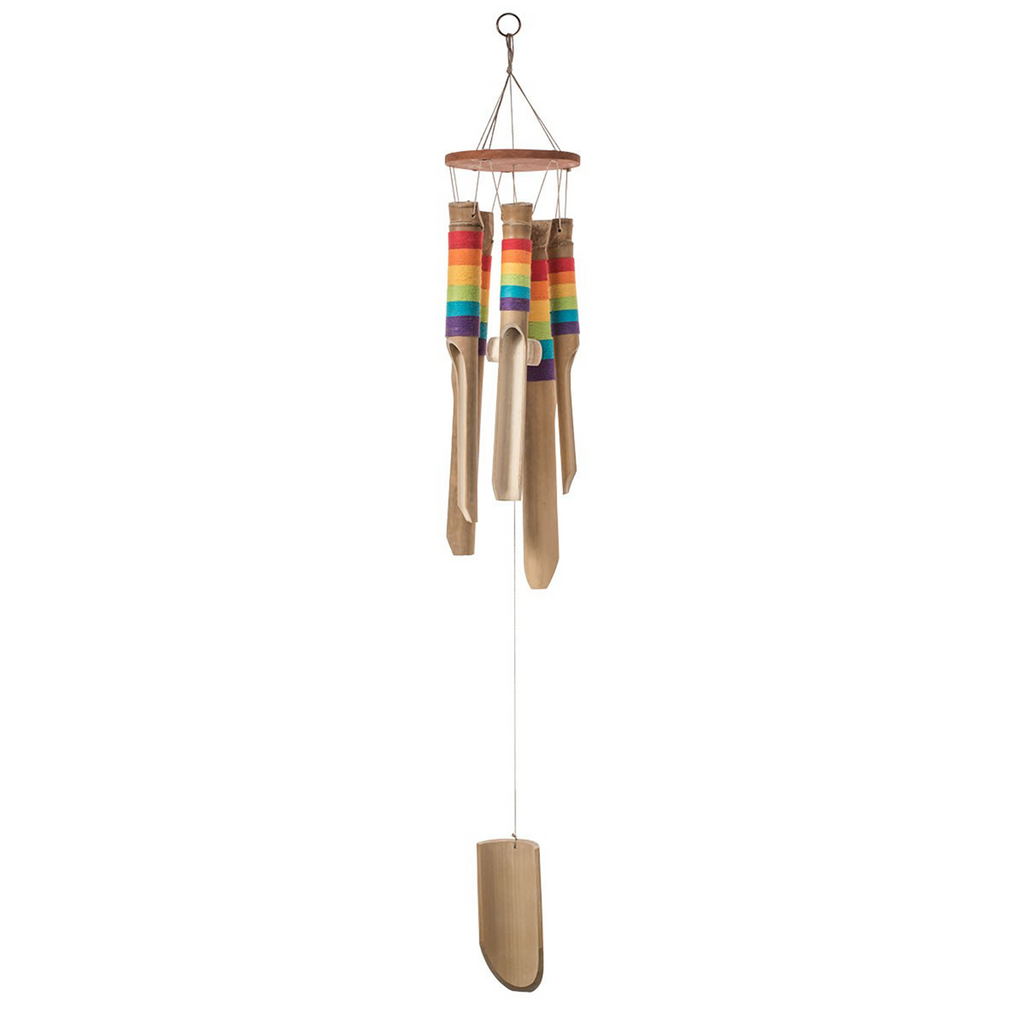 Bamboo Windchime with Rainbow Thread