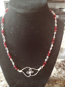 Entwined Glass Rondelle Beaded Heart Necklace