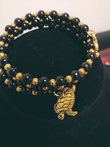 Handcrafted Gold & Black Double Beaded Bracelet
