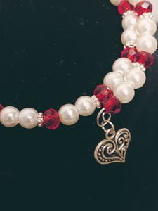 Peppermint Look Double Beaded Charm Bracelet
