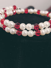 Load image into Gallery viewer, Peppermint Look Double Beaded Charm Bracelet