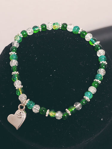 Beaded Glass Heart Charm Bracelet