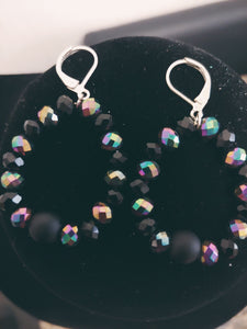 Multi - Colored Transparent Black Beaded Hoop Earrings