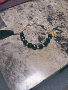 Faceted Lava Stone Bracelet