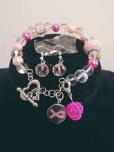 Load image into Gallery viewer, Cancer Awareness Charm Bracelet Set
