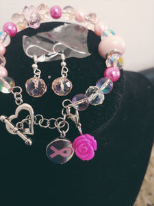 Cancer Awareness Charm Bracelet Set