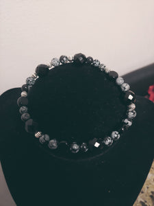 Men Jet Black Glass Beaded Bracelet