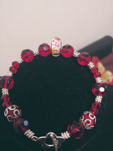 Red Glass Beaded Toggle Bracelet